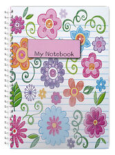 NEW! A5 NOTEBOOK PERSONALISED/50 LINED PAGES/WIRE BOUND A5 NOTEBOOK/ FLOWERS