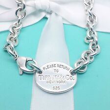 Return to Tiffany & Co. Oval Tag Chain Necklace Choker 925 Sterling Silver #146