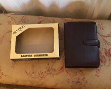 Buxton Leather Mini Agenda Cover Notepad & Address Book 1995 Brown NWT Burgundy
