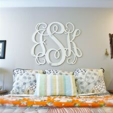 "UNFINISHED WOODEN 3-LETTER VINE PERSONALIZED CUSTOM MONOGRAM WALL ART 12"" X 3/8"