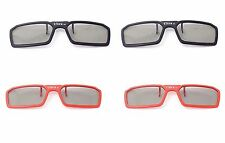 4 Pairs of 3D Clip on Glasses 2 Red 2 Black Passive 3d Tvs Cinema 3D RealD Imax