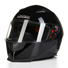 DOT Full Face Motorcycle Helmet JKN with 2 Visors Matte Black M L XL+Neck Scarf