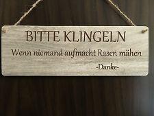 Türschild Deko schild Landhaus Vintage Shabby Retro Bitte klingeln Rasen mähen
