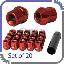20pc 12x1.25 Spline Lug Nuts w/ Locking Key | Cone Seat | Short Open End | Red