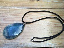 Linda verde y azul cristal Oval Colgante Collar/Plata Esterlina 925/Cable en