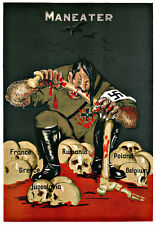 Aldolf Hitler Maneater Europe Invasion War A3 Art Poster Print