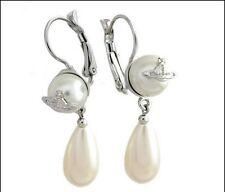 Vivienne Westwood Silver color Small pearl drop Saturn earrings Box + Bag