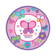 "18 Sweet Pink Butterfly Pink Girl's 1st Birthday Party 7"" Dessert Paper Plates"