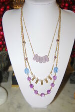 STONY BOLD LONG GOLD TONED METAL CHAINS PENDANTS & PURPLE STONES BEADS NECKLACE