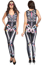 Women's Print Sleeveless Sugar Skull Adult Halloween Catsuit Fancy Dress Costume