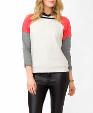NWT Forever 21 CHARCOAL CORAL Colorblock Crew Neck Pullover Sweatshirt Shirt S