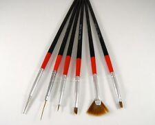 6x NERO NAIL ART UV Brush Set penne false unghie finte PITTURA SMALTO MANICURE