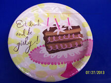 "Be Girly Chocolate Cake Pink Martini Cocktail Birthday Party 9"" Dinner Plates"