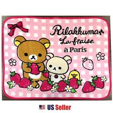 San-x La Fraise Rilakkuma Portable Warm Travel Knee Blanket Baby Towel : Pink