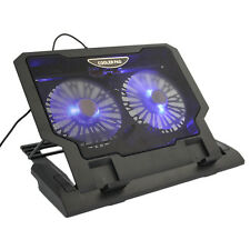 "USB 2 Cooler Fan Cooling Pad 12""-17.4"" Laptop LED Light Adjustable Stand"