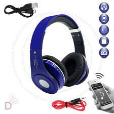 Wireless Bluetooth 4.2 Stereo Headsets Foldable Blue Headphone Mic FM Radio UKDC
