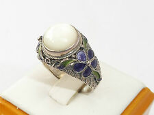 Ladies Jewellery Sterling 925 Silver Mother of Pearl & Enamel Gift Ring  - Q