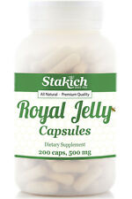 200 ROYAL JELLY CAPSULES 500mg Pure Fresh Natural Best Bee Gluten Free 48 Hour