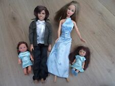 DARK BLONDE BARBIE & KEN WEDDING PARTY PROM SET + CHELSEA DOLL WEARING CLOTHES