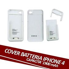 CUSTODIA CON BATTERIA INTEGRATA BIANCA X IPHONE 4S 4 COVER RICARICA USB 1900 mAh