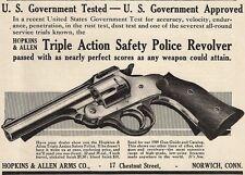 1909 Ad Hopkins & Allen Arms H & A Safety Police Revolver Gun U. S. Gov't Tested