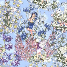 1m Petal Flower Fairies Periwinkle Fabric by Cicely Mary Barker PER METRE Pink P
