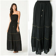 BEBE BLACK EMILEE CHAIN TRIM STRAPLESS MAXI DRESS NEW NWT XSMALL XS