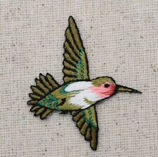 Iron On Embroidered Applique Patch Small Red Throat Hummingbird Bird RIGHT