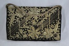 VINTAGE Indian black velvet metal embroidered evening bag clutch 1970s ZARDOSI