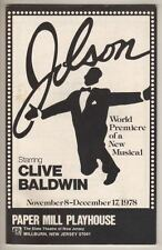"Clive Baldwin  ""Jolson"" 1978  Playbill  Al Jolson Musical   Paper Mill Playhouse"