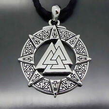 Men Valknut Odin 's Symbol of Norse Viking Warriors Pewter Pendant Free Necklace