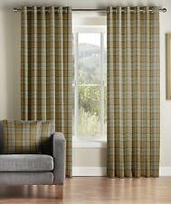 One Pair Of MONTGOMERY Modern Checked Design Brae Eyelet Lined Ccurtain