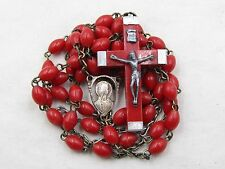 † FOR CHARITY BLESSED BROUGHT BACK LOURDES CRIMSON RED ROSARY & LEATHER CASE †