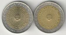2 DIFFERENT BI-METAL 1 PESO COINS from ARGENTINA (2 TYPES/1995 & 2013)