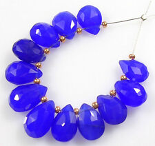 12 LARGE VIOLET BLUE CHALCEDONY FACETED PEAR BRIOLETTE BEADS 10-12 mm  C58