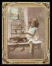 Vintage Girl With Bird Cage Miniature Dollhouse Picture