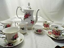 Royal Albert Prairie Rose Bone China Coffee tea pot cream sugar cup and saucer