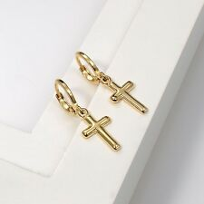 18k Yellow Gold Filled Cross Earrings Women's Drop Dangle GF Charms Jewelry