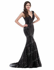 Sexy New Sequins Mermaid Ball Long Dress Formal Evening Party Dresses Prom Gown