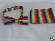 Any Polyester Pre-tied Mens Bow tie & Hanky Set Over 60 Colours P&P2UK 1st Class