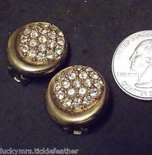 Signed ALLISON REED Clip Earrings, Round Rhinestone Pave Cluster & Goldtone