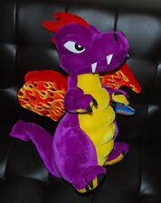 "Six Flags Dragon Plush Purple Yellow Red Flames Stuffed Animal Toy HTF 18"" NWT"