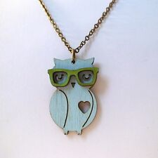 Nerd Owl With Glasses Necklace - Handmade - Wood Owls Nerd Jewelry Geek NEW