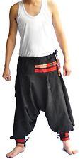 Thai fisherman pants Yoga Harem Black pants cotton, Hill tribe design waist