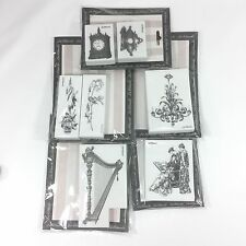 LaBlanche Foam Rubber Victorian Women Harp Roses Chandelier Steampunk Stamp Lot