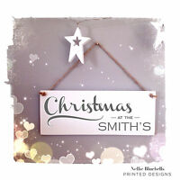 105 FAMILY NAME CHRISTMAS HANGING SIGN - PERSONALISED FAMILY PLAQUE - XMAS SIGN
