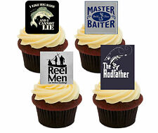 Fishing Funny / Rude Edible Cup Cake Toppers, Stand-up Decorations Birthday Men