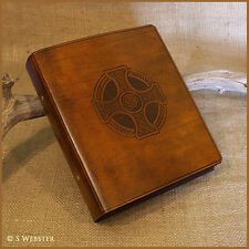 A5 BROWN LEATHER 2 RING BINDER, CELTIC CROSS, FOLDER, free personalisation.