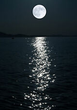 Black & White Print Of A Full Moon And Sea. Art & Photography Poster Picture