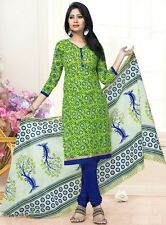 Radiant Green Cotton Embroidered Dress Material With Chiffon Dupatta DNO JIO5014